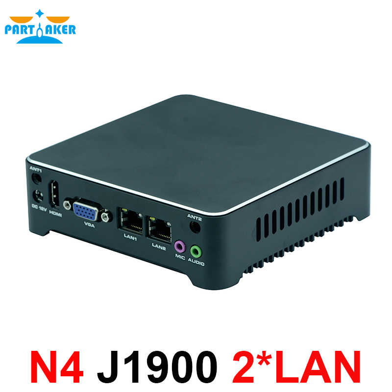 Nano PC NUC J1900 N2805 Fanless Mini PC Windows 7 10 Quad Core Dual LAN NIC 1 HDMI Mini Computer