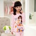 Varejo da Menina Conjuntos Pijamas de Algodão Spring & Autumn 2016 Novas Crianças Dos Desenhos Animados Pijamas Pijamas Set para Meninas Adolescentes Roupa Interior