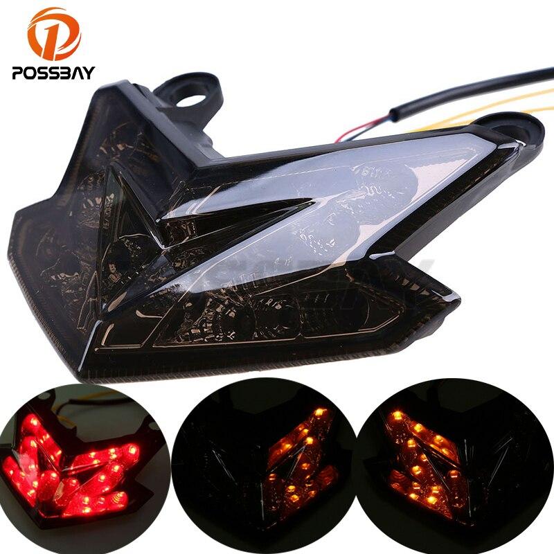 POSSBAY Motorcycle Rear Brake Taillight Stop Lights LED Motocicleta Turn Signal Indicator For KAWASAKI Z800 13 14 Cafe Racer