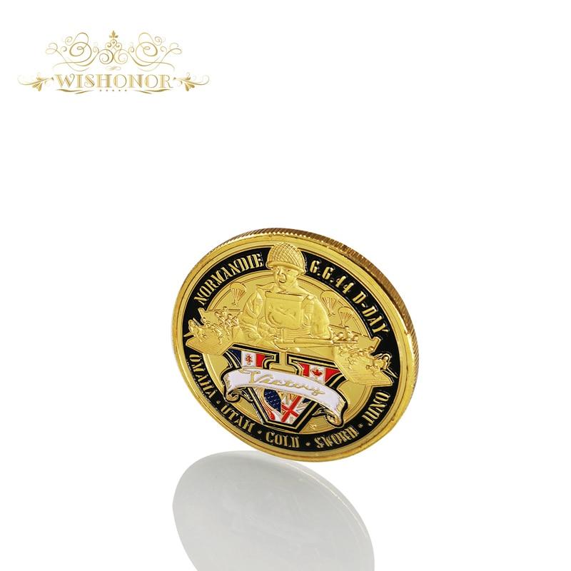 Spominki ameriški kovanec za Normandijsko vojno 70-letnica 24K pozlačeni kovanec vojaška medalja izziv kovanec