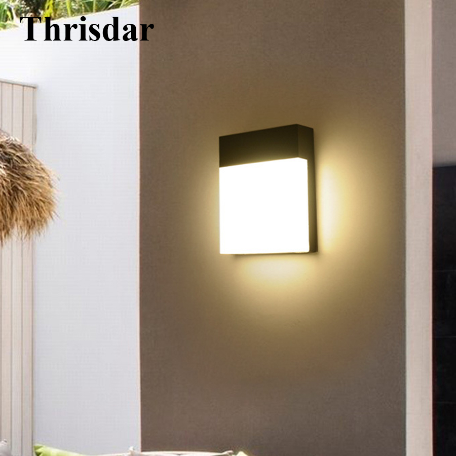Thrisdar 18W Outdoor Waterproof LED Wall Lamp Garden Balcony Villa Gate Wall Light Fixture Nordic Living Room Patio Porch Lamp 18w led outdoor waterproof wall light ip65 modern nordic style indoor wall lamps living room porch garden lamp ac90 260v lp 42