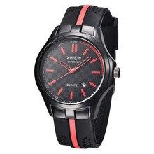 Мужчины спортивные часы FHD марка кварцевые часы резинкой черный циферблат секундомер мода повседневная мужчины часы 30 М водонепроницаемые наручные часы