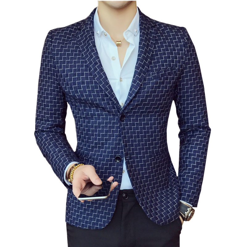 Long Sleeve Plaid Suit Jackets Mens Size 3XL Fashion Business Casual Man Suits Blazers Gentleman Slim Elegant Men Coats