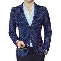 Long Sleeve Plaid Suit Jackets Mens Size 3XL Fashion Business Casual Man Suits Blazers Gentleman Slim Elegant Men Coats