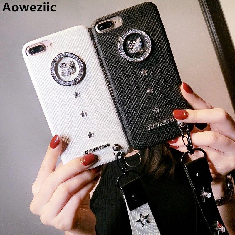 Aoweziic Tide brand creativity swan rhinestone lanyard For iphoneX 7 8 6s Plus mobile phone case black shell soft female models
