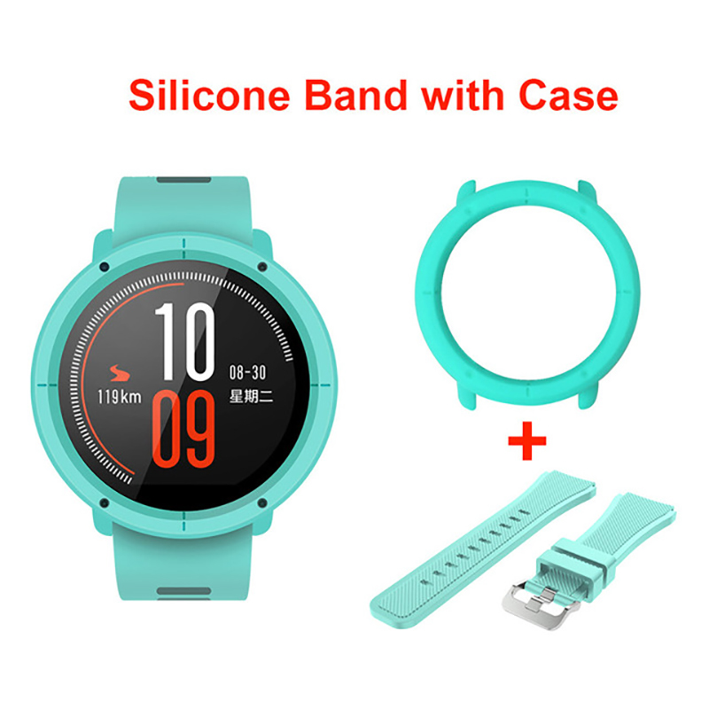 Silicone Watch Band Strap With Slim Case Frame For Xiaomi Huami Amazfit Pace Replacement Wrist Bands Full Protective Cases Cover
