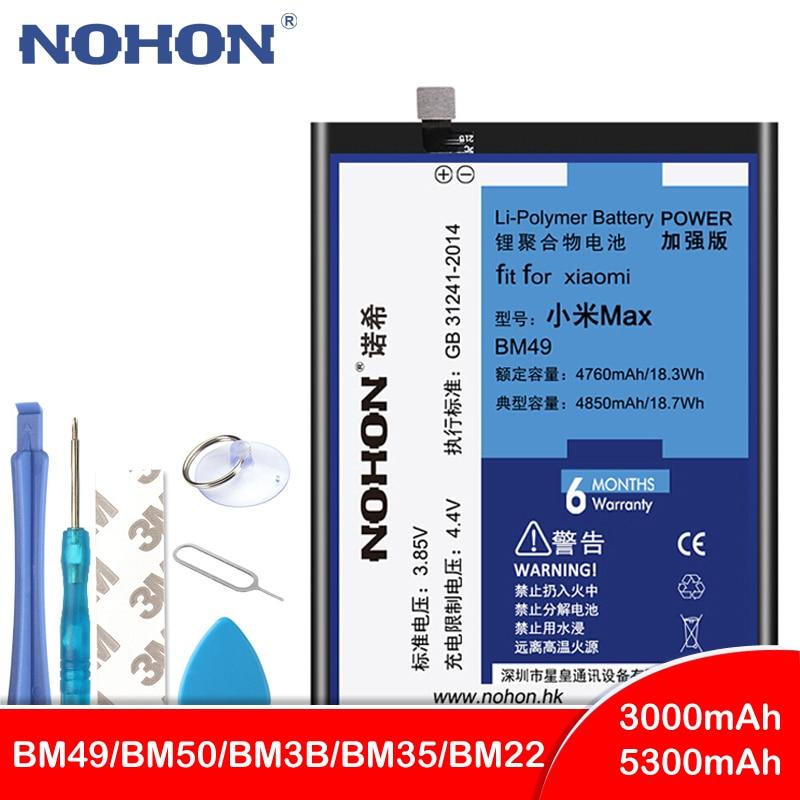 Nohon bm49 bm50 bm3b bm22 bm35 bateria para xiao mi 5 4c max mi x 2 max2 mi x2 substituição bateria do telefone + ferramentas gratuitas