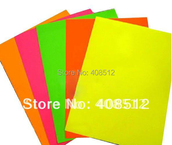 Mixed 5 Fluorescence Colors A4 Label Blank Red Orange Green Dark Pink