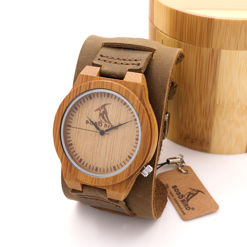 ФОТО 2017 BoBo Bird Brand Wider Leather Band Bamboo Wristwatch Japan Movement 2035 Wooden Watches With Bamboo Box