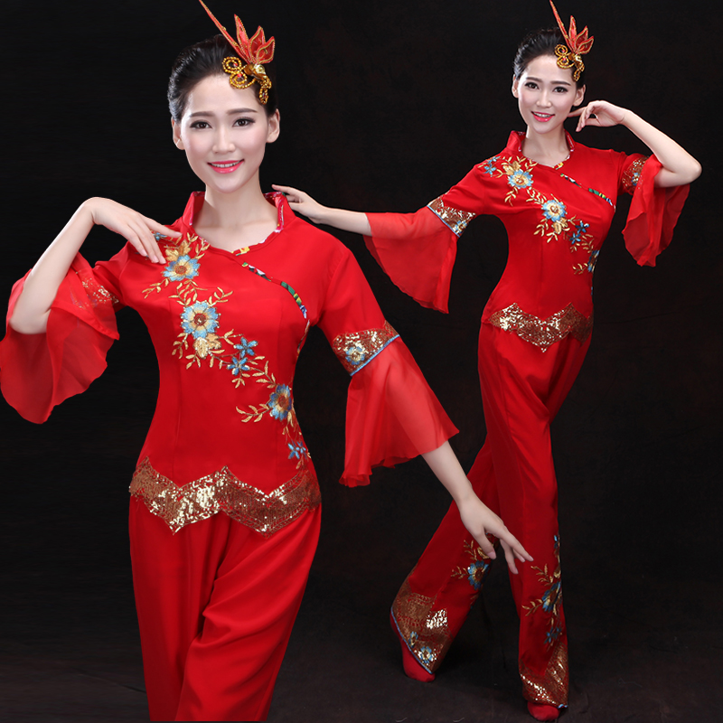 Yangko waist drum dance costumes national stage costume 2018 new red performance women dancing clothing square dance