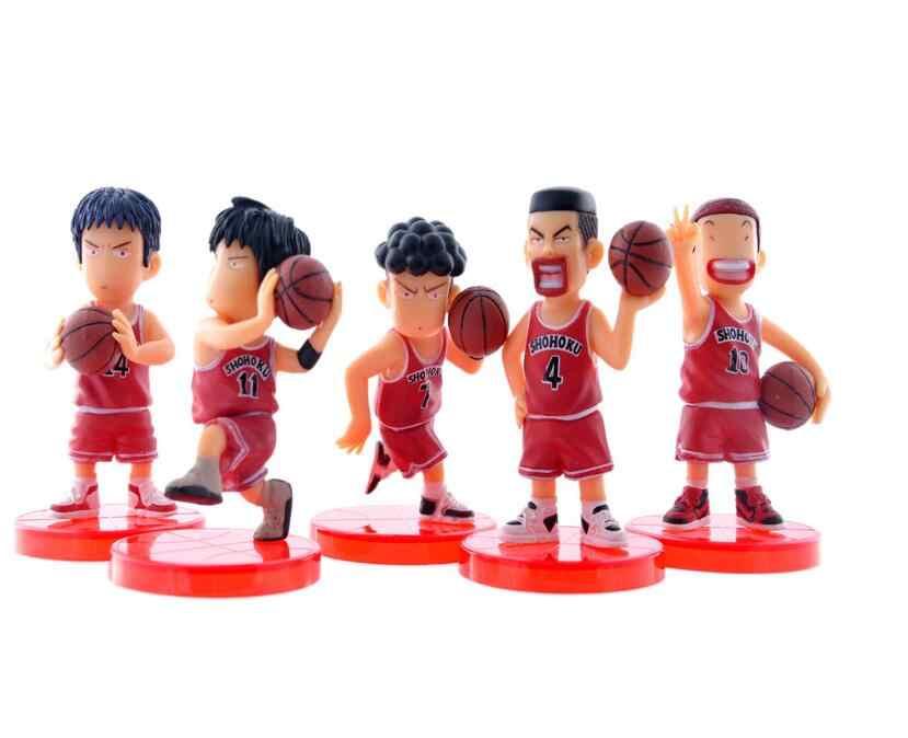 5pcs/lot Japan Anime 8cm Slam Dunk PVC Action Figures Basketball Sakuragi Hanamichi Toys