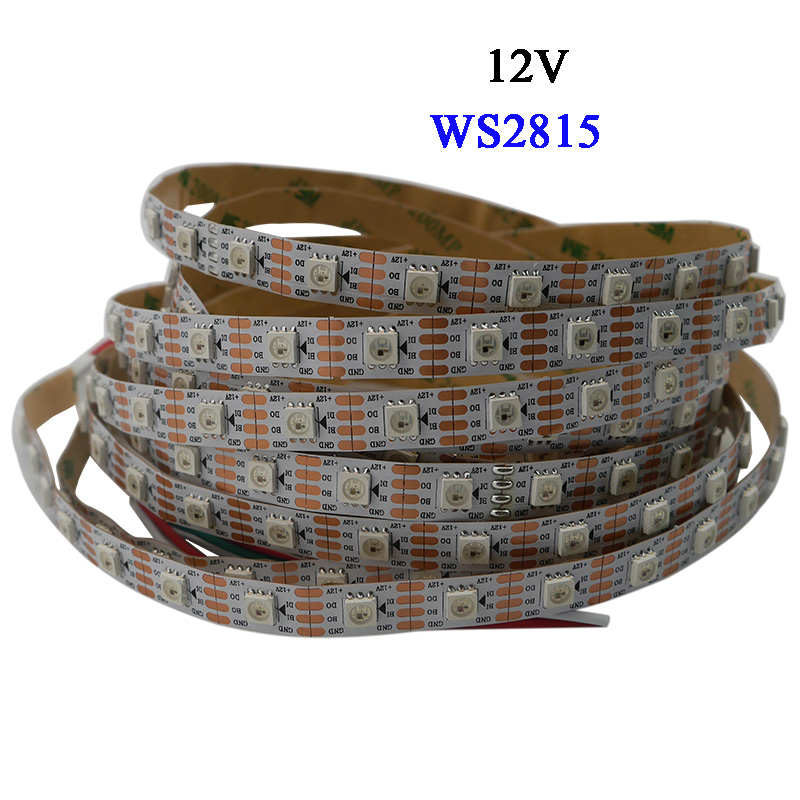 1m/3m/5m Smart Pixel WS2815 Led Strip;30/60/144 Leds/m;Black/White PCB;IP30/IP65/IP67;Addressable Dual-signal,DC12V,ws2813