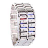 Men Luxury Lava Watch Full Alloy Strap Electronic Movement LED Bracelet Wristwatch Student Electronic Watches