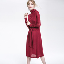 2017 New Women Oversized Sweater Dresses New Fashion Solid Blue Sashes Wool Long Pullovers Turtleneck Ladies Leisure Knitted