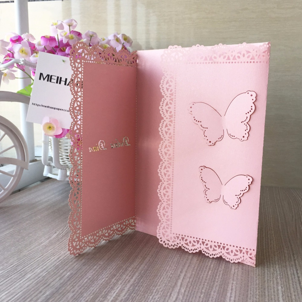 50pcs Vintage Wedding Invitation Cards, Unique Butterfly Open Lace ...
