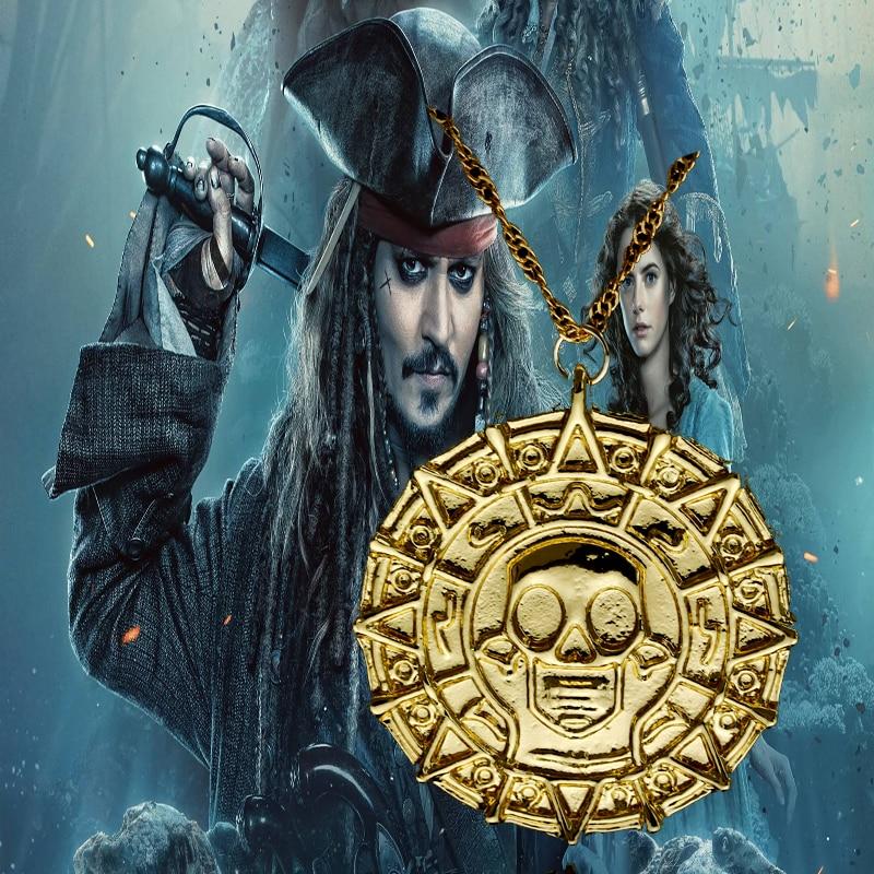 Pirates Of Caribbean Necklace Jack Sparrow Aztec Coin Medallion Vintage Gold