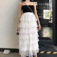 GRUIICEEN white ruffles skirt korean vintage skirt high waist summer long skirt 2018 spring summer