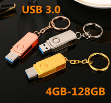 HOT USB 3.0 Flash Drive 4GB 8GB 16GB 32GB 64GB 128GB Pen Keychain Memory Stick Metal Pendrive Classic Design Gadget