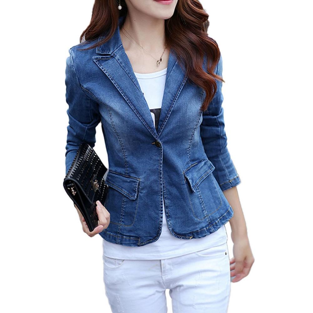 Idopy Womens Office Ladies 1 Button Slim Fit Washed Stretch Work Denim Jean Business Suit Blazer Jacket Coat