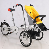 Carbon Steel Mother&Kids Bike Stroller Cute Baby Bicycle Prams Folding Umbrella Car Can Sit Can Lie Trolley Drop shipping