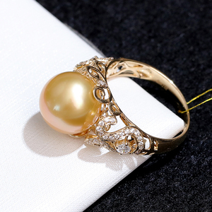 Image 4 - YS 2.68 Grams 14K Solid Gold Anniversary Ring 10 11mm Genuine Saltwater South Sea Pearl Ring Fine Jewelry