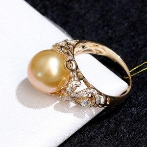 Image 4 - YS 2.68 gramów 14 K z litego złota pierścionek jubileuszowy 10 11mm prawdziwy ze słoną wodą perła z Morza Południowego pierścień Fine Jewelry