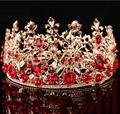 High-end personalizado de luxo vermelho frisado jóia da pérola do metal esculpido cabeça princesa casamento coroa tiaras de noiva acessórios para o cabelo headwear