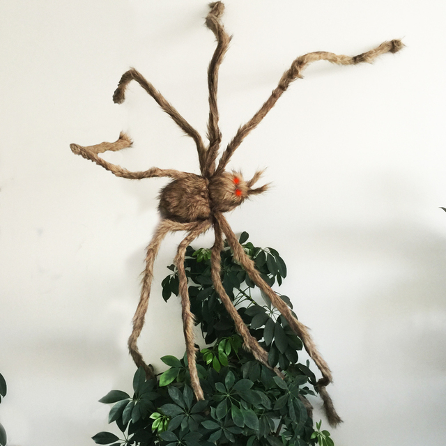 Giant Hairy Spider with LED Eyes for Halloween Decoration