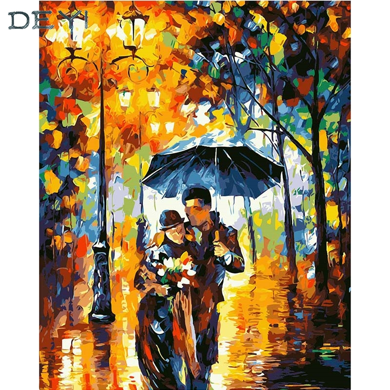 DEYI 40*50cm Hand Oil Painting Rain In The Song Decorative Linen Painting Framed Mirrors Wall Art For Living Room 4050691