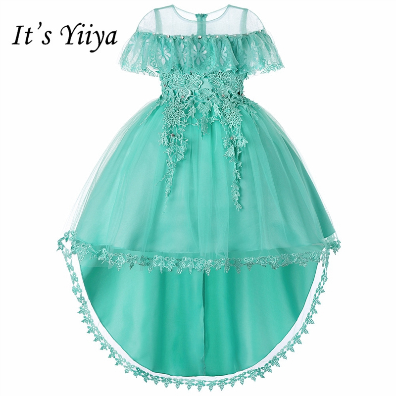 It's YiiYa   Flower     Girl     Dresses   5 Colors Sleeveless O-Neck Court Train   Girls   Pageant   Dresses   Vestidos De Noches Para Ninas 736