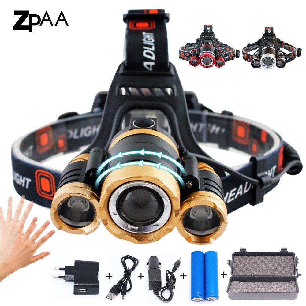 ZPAA LED Del Faro Zoomable 15000Lm T6 Testa della Torcia Elettrica Della Torcia Sensore Ricaricabile Head Light Fronte Testa Della Lampada di Pesca Del Faro