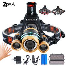 ZPAA LED كشافات زوومابلي قوية T6 رئيس مضيا الشعلة الاستشعار مصباح قابل لإعادة الشحن الجبهة مصباح رئيس الصيد العلوي