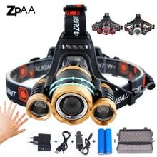 ZPAA LED far zumlanabilir güçlü T6 başkanı el feneri Torch sensörü şarj edilebilir kafa feneri alın lambası kafa balıkçılık far