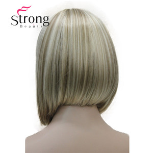 Image 3 - StrongBeauty Short Straight Blonde Highlighted Bob with Bangs Synthetic Wig Black Brown Red Womens Wigs COLOUR CHOICES