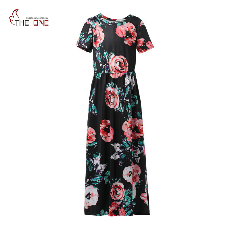 MUABABY Summer Children Girls Flowers Printed Dresses Ankle-Length Short Sleeve O-Neck Elegant Vintage Casual Long Maxi Dress uniquewho girls women floral denim shirt dress birds flowers embroidery dress long sleeve elastic waist ankle length shirtdress