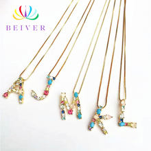 Beiver Fashion 26 Styles Letter Necklace Yellow Gold Color Party Jewelry Gifts for Mother's Day / Valuntine's Day Dropshipping(China)