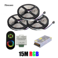 15M 5050 RGB No-Waterproof SMD 60Leds/M Flexible Led Strip+Wireless RF Dimmer Remote Controller+15 A Power WLED56