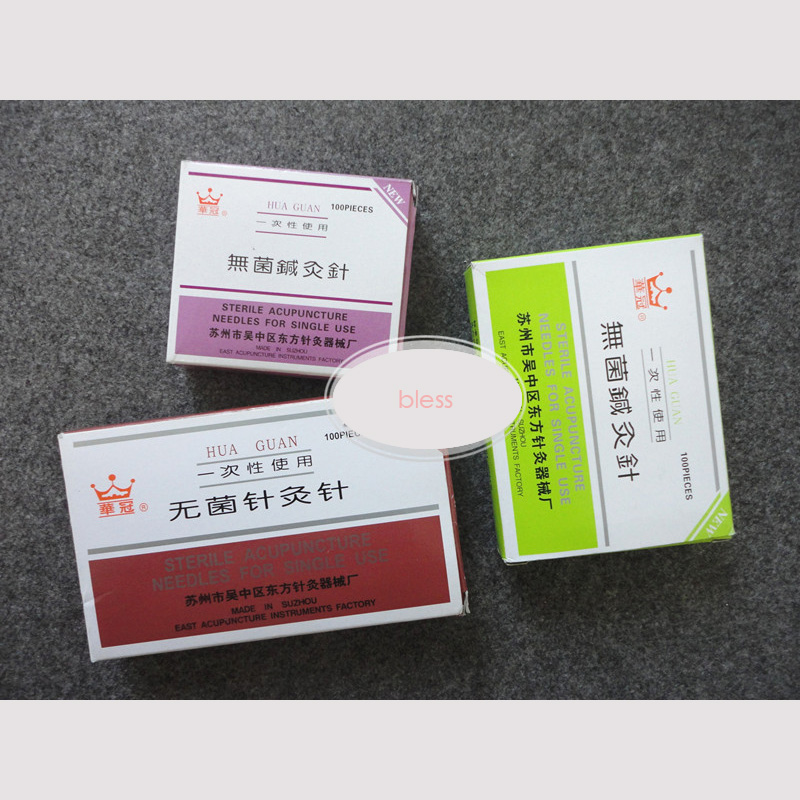 100pcs/box Sterile acupuncture needle Hua Guan blessfun one needle one pack with needle tail