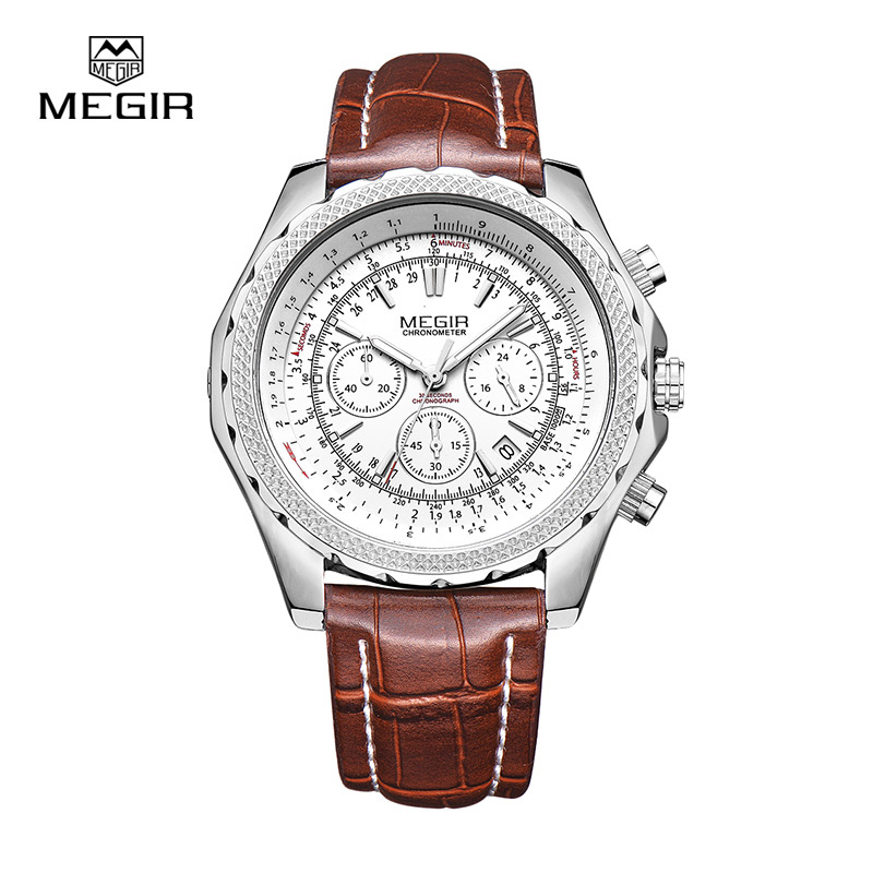 Megir 2007 fashion casual stop watches for men luminous running brand watch for man leather quartz watch male megir fashion casual stop watches for men luminous running brand watch for man leather quartz watch male 2007 free shipping