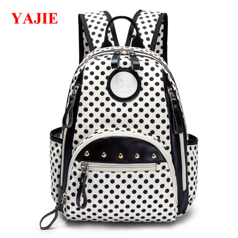 YAJIE Dot Pupil School Backpack Canvas Printing Girls Book Bags Korean Candy Backpacks Fashion Travel Bag High Quality M512 free shipping korean version candy colors fairy tail logo printing man woman canvas schoolbag red green black blue backpacks