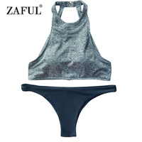 Gamiss New Leaf Pattern Swimsuit Summer High V Neck Young Girls Bathing Suit Biquini Women Beachwear