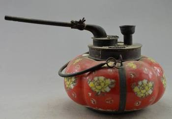 Exquisite Chinese Collectible Old Copper & Porcelain Painted with Flower Pumpkin Smoking Pipe