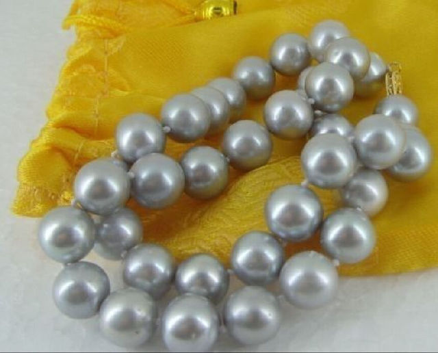 """Free Shipping 17"""" 10-11MM AAA NATURAL SOUTH SEA SILVER GREY PEARL NECKLACE 14KGP CLASP"""