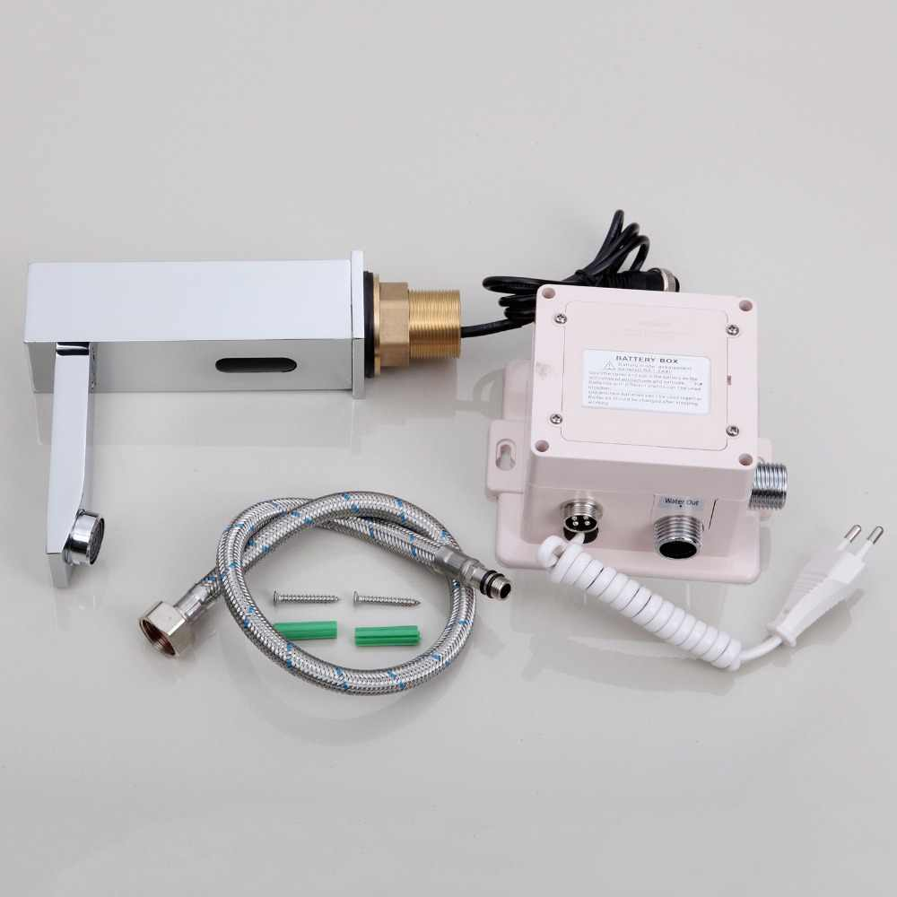 Kamar Mandi Otomatis Tangan Sentuh Gratis Sensor Wastafel Krom Kuningan Wastafel Mixer Keran Kran Mixer Otomatis Kran Sensor
