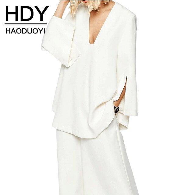 HDY Haoduoyi 2016 Осень Женщины Мода Sexy Окунитесь Шея Пальто С Длинным Рукавом Сплит Твердые Белые Свободные Пальто Женщин Пиджаки