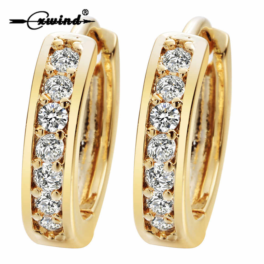 Cxwind Small Hoop Earrings Gold Filled Clear Cubic Zirconia Round Hoop Earrings for Womens Earrings Sexy Ear Surgical Jewelry