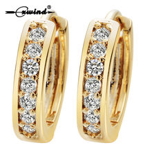 Cxwind Small Hoop Earrings Gold Filled Clear Cubic Zirconia Round Hoop Earrings for Womens Earrings Sexy Ear Surgical Jewelry(China)