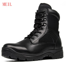Men Military Boots Mesh Leather Safety Shoes for Spring Black Ankle Army Platform Motorcycle