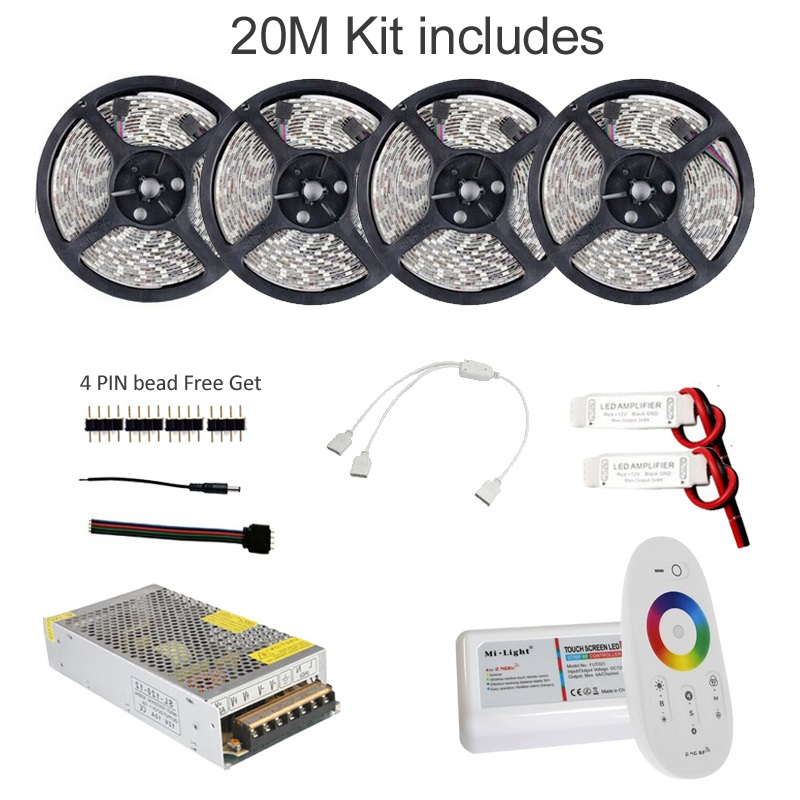 5M 10M 15M 20M Led Strip RGB Suya davamlı 5050 SMD 60 led / m Tape - LED işıqlandırma - Fotoqrafiya 1