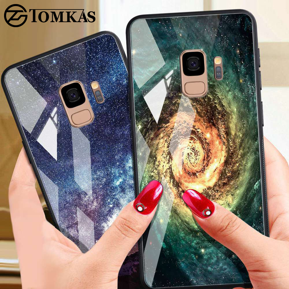 TOMKAS Tempered Glass Case For Samsung Galaxy S9 Plus Note 8 9 Silicon Cover Galaxy S9 Plus Note9 Note8 S9 Phone Case Star Space